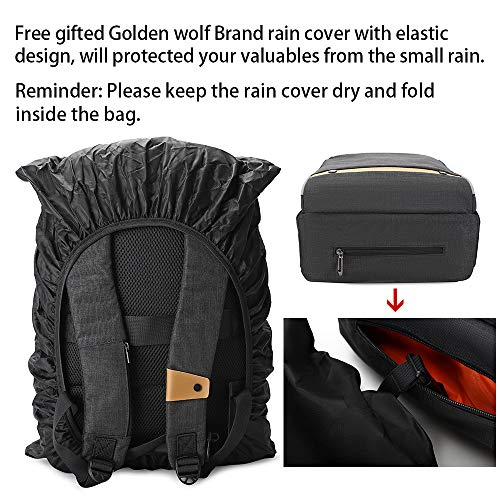 517unrHeekL - Hoteon Golden Wolf Laptop Backpack with Rain Cover, Anti-Theft Locker, fits up to 15.6 inches Laptop, USB Port, Earphone Port, Water Resistant, Business and Travel Bag for Men & Women (Dark Grey)