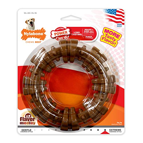Nylabone Dura Chew Power Chew Textured Ring, Large Durable Dog Chew Toy, Great...