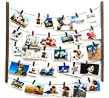 Y&ME Wood Picture Photo Frame for Hanging Wall Decor,Collage Artworks Prints Multi Pictures Organizer with 30 Clips & Adjustable Twines,DIY Wood Hanging Display Frames,Carbonized Black 26 X 29 inch