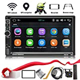 Double Din Android 8.1 Car Stereo in-Dash GPS Navigation Support Compatible with Bluetooth 4.0, WiFi/3G, Mirror Link, Car Radio Audio Vehicle Head Unit with Free Rear Camera and Car Remote.