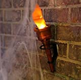 Pair 2 Torch Fake Flame Light Halloween Decor Prop Hand Held or Wall Mounted Set