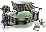 Sorbus Utensil Caddy - Use For Napkin, Cutlery, Plate Holder - Stackable Flatware Caddy, Tabletop Organizer - Ideal for Dining Table, Party, Buffet, Kitchen, Entertaining (Black)