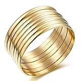 Carfeny Jewelry High Polish Set of 7 Pieces Stacked Gold Bangle Bracelets for Women 14k