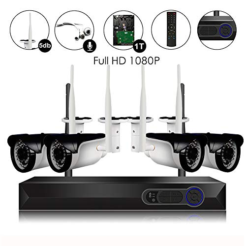 CAMVIEW Wireless Security Camera System 4pcs 1080P(2.0MP) WiFi CCTV IP Camera + 4CH HDMI NVR Home Video Surveillance System, Microphone Plug, Night Vision, Motion Detection, 1TB HDD Pre-installed