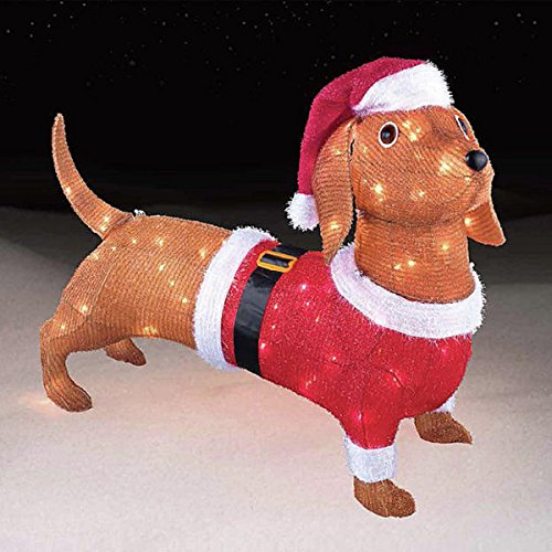 Light Up Tinsel Dachshund Outdoor Christmas Decoration
