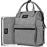 Backpack Diaper Bag with 3 Insulated Pockets and Large Compartments | Bonus Changing Pad and Stroller Straps | Premium, Large & Durable Baby Bag | Unisex, Heather Grey Nappy Bag for Mom and Dad