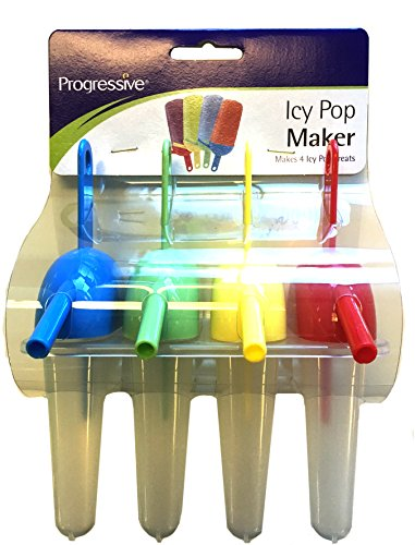 Progressive Icy Pop Maker with Straws, Set of Four Molds
