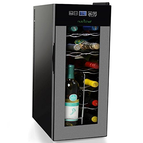 NutriChef 12 Bottle Thermoelectric Wine Cooler Counter Top Wine Cellar | FreeStanding Refrigerator, Quiet Operation Fridge