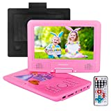 FENGJIDA 9.5'' Portable DVD Player with Headrest Mount Holder, Built-in Rechargeable Battery, 270°Swivel Screen, 5.9 ft Car Charger SD Card Slot and USB Port - Pink