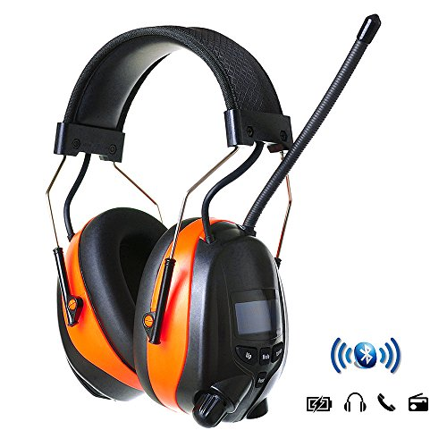 PROTEAR Ear Muffs AM/FM Hearing Protection Wireless Bluetooth Radio Headphones with Rechargeable Battery - NRR 25dB Professional Noise Reduction Safety Ear Muffs for Working/Lawn Mowing/Construction