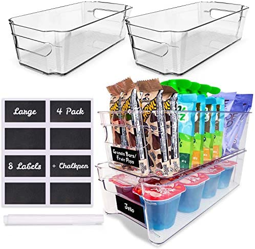 4 Pack Pantry Bins – Stackable Fridge Organizer – Sturdy Pantry Storage Bins – Quality Clear Organizing Bins – BPA Free Pantry Organization – Space Saving Kitchen Organization – Kitchen Storage Bin
