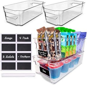 4 Pack Pantry Bins – Stackable Fridge Organizer – Sturdy Pantry Storage Bins – Quality Clear Organizing Bins – BPA Free Pantry Organization – Space Saving Kitchen Organization – Kitchen Storage Bin