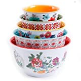 The Pioneer Woman 10-Piece Nesting Mixing Serving Bowl Set features Unique Vibrant Colors
