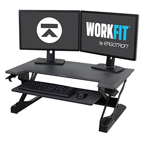 Ergotron WorkFit-TL, Sit-Stand Desk Converter | Black, 37.5' wide | For Tabletops