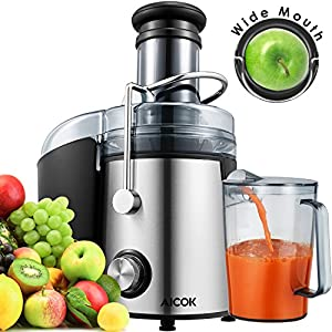Juicer 1000 Watt [2018 Upgrade] Aicok Wide Mouth 76MM Juice Extractor Centrifugal Juicer Machine Whole Fruit and Vegetable Juicer with Juice Jug and Cleaning Brush,Anti-drip Function