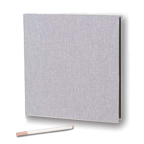 Self Adhesive Photo Album Magnetic Scrapbook Album 40 Pages Linen Hardcover Length 11 x Width 10.6 (Inches) with A Metallic Pen and Photo Album Storage Box DIY Accessories Kits (Grey)