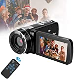 Video Cameras Camcorders for YouTube Videos,Digital Video Camcorder Cameras FHD 1080P with Remote Control/IR Night Vision/Support Tripod/Rotation Screen/TV Video Output