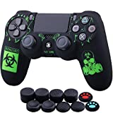 YoRHa Laser Carving Silicone Cover Skin Case for Sony PS4/slim/Pro Dualshock 4 Controller x 1(Biohazard) with Thumb Grips x 10
