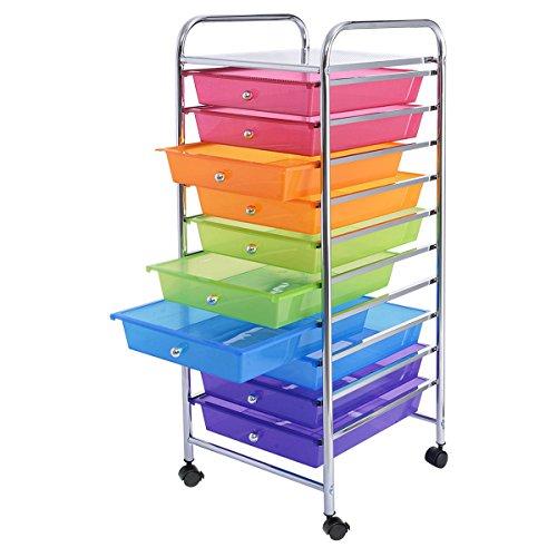 New 10 Drawer Rolling Storage Cart Scrapbook Paper Office School Organizer Rainbow