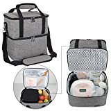 Luxja Breast Pump Bag with 2 Insulated Compartments for Breast Pump and Cooler Bag, Pumping Bag for Working Mothers (Fits Most Major Breast Pump), Gray