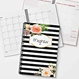 Classic Floral Personalized Monthly and Weekly Planner and Organizer, 1 full year, DATED or UNDATED OPTION, Soft Cover, lay flat wire-o spiral binding, Available in 2 sizes.