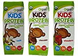 Orgain Kids Protein Organic Nutritional Shake 3 Flavor Sampler Bundle, (1) Each: Vanilla, Chocolate, Strawberry, 8.25 fl oz