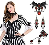 Vampire Costumes for Girls - Gothic Necklace Choker Bracelet Earring Halloween Party Supplies Decorations