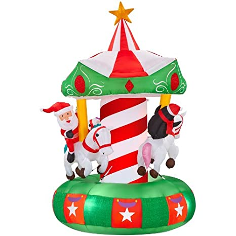 Gemmy Inflatable Animatronic Airn Carousel Outdoor Christmas Decoration With Incandescent White Lights