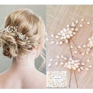 Bridal Hair Pins – 3pcs Fashion Retro Elegant Ladies Pearl Rhinestone Hair Accessories for Wedding Bridal Jewelry Bridal Hair Accessories Headpiece Wedding Accessories (3PCS) 518LDI6WkiL