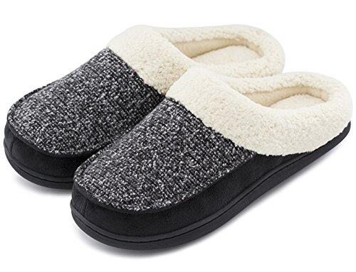 Women's and Men's Comfort Memory Foam Slippers Fuzzy Wool Plush Slip-on Clog House Shoes w/Indoor & Outdoor Sole (38-39 (US Women's 7-8, Men's 5-6), Neutral Black)