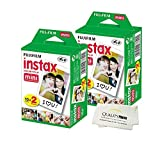 Fujifilm INSTAX Mini Instant Film 4 Pack 40 Sheets (White) for Fujifilm Mini 8 & Mini 9 Cameras + Quality Photo Microfiber Cloth
