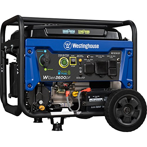 Westinghouse WGen3600DF Dual Fuel (Gas and Propane) Electric Start Portable Generator - 3600 Rated Watts & 4650 Peak Watts