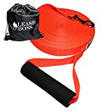 Leashboss Free Range 50 Foot Long Nylon Dog Leash for Large Dogs w/Drawstring Backpack - 1 Inch Wide Heavy Duty Long Training Lead with Padded Handle (50 Ft, 1 in, Bright Orange)