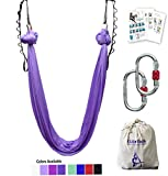 F.Life Aerial Yoga Hammock 5.5 Yards Include Daisy Chain,Carabiner and Pose Guide (Lavendar)