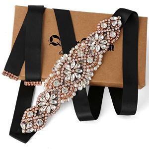 Bridal Belt Rose Gold Rhinestone Black Ribbon Wedding Belts for Party Gown and Bridesmaid Dress 518QLwMNLvL