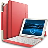 Bosewek Keyboard Case for New iPad 9.7 2018 - Lightweight One-Piece Wireless Keyboard Case with Pencil Holder for Apple New iPad 9.7 2018 2017 iPad Pro 9.7 iPad Air 2 iPad Air Tablet (Red)