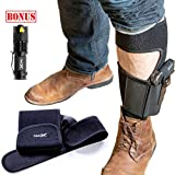 TacX Pro Gear Ankle Holster for Concealed Carry Pistol Bundle | Bonus LED TacLight | Sewn-in Magazine Pouch | Glock 42,43,26,19, S&W M&P Shield,Bodyguard .380.38,Ruger LCP,LC9,Sig Sauer (Package)