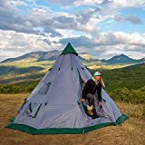 Winterial 6-7 Person Teepee Tent, 12' x 12' for Family Camping or Festivals with Windows and Mesh Vents, Pack Weight 15 Pounds (lbs), Includes Stakes, Poles, Rain-Cap, Stabilizer