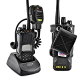 Turtleback Carry Holder for Kenwood 5200 5300 5400 NEXEDGE Fire and Police Two Way Radio Belt Clip Holster Case, Black Leather Pouch with Heavy Duty Rotating Ratcheting 2.25' Belt Loop Made in USA