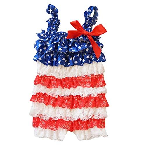 SWNONE Infant Baby Boys Girls Ruffle Lace Stars Striped 4th of July Romper Jumpsuit Outfit Clothes (4th of July lace Romper, 2-3 y)