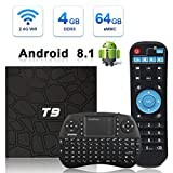 Android TV Box, HAOSIHD T9 Android 8.1 TV Box with Remote Control & Mini Keyboard,4GB RAM 64GB ROM RK3328 Quad-core, Support 4K Full HD Wi-Fi 2.4Ghz BT 4.1 Smart TV Box (black1)