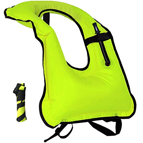 Lesberg Inflatable Snorkel Vest Adult Life Jackets Free Diving Swimming Safety Load Up to 220 Ibs Green