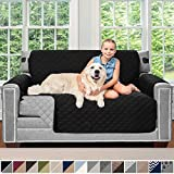 Sofa Shield Original Patent Pending Reversible Loveseat Slipcover, Dogs, 2' Strap/Hook, Seat Width Up to 54' Washable Furniture Protector, Couch Slip Cover for Pets, Kids (Love Seat: Black/Gray)
