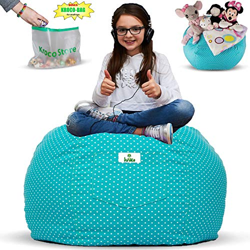 Kroco Stuffed Animal Storage Bean Bag Chair for Kids Room | Stuffie Toy Storage Bean Bag Covers for Toddler & Teen | Stuff Toys Organizer Seat Holder for Girls & Boys | Original Bag Extra Large -Teal