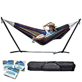 BACKYARD EXPRESSIONS PATIO · HOME · GARDEN 914922 Two Person Hammock with Stand + Bonus Complete Relaxation Audio Track, 106' L x 47' W x 43' H, Caribbean Rainbow