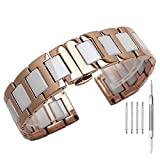 Polished Rose Gold Stainless Steel Watch Band 18mm White Ceramic Bracelet Metal Strap Steel Wristband for Ladies with Butterfly Buckle Clasp