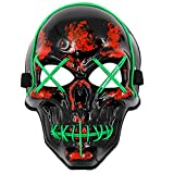 MeiGuiSha Skull LED Halloween Scary Mask Cosplay Led Costume Mask EL Wire Light up for Halloween Festival Party(Green)