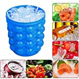 Besmon Ice Bucket,Large Silicone Ice Bucket & Ice Mold with lid, (2 in 1) Space Saving Ice Cube Maker, Silicon Ice Cube Maker, Portable Silicon Ice Cube Maker (Blue)
