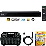 Sony UBP-X800-4K Ultra HD Smart Blu-Ray Player with Hi Res + Accessories Bundle Includes, 2.4GHz Wireless Backlit Keyboard w/Touchpad, 6ft HDMI Cable and Laser Lens Cleaner for DVD/CD Players