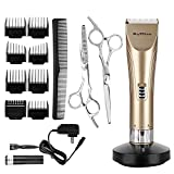 BuySShow Professional Hair Clippers for Men and Babies Quiet Clippers Cordless Haircut kit with 2 Scissors 1 Hair Comb Charging Dock Self Hair Cutting System